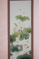 Elegant Hand painted silk wallpaper painting lotus with fish silk wallcovering many pictures optional