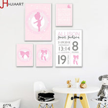 No Frame Baby Birth Custom Poster Cartoon Pink Nursery Canvas Art Print Painting Wall Picture Girls Room Decoration Art(China)