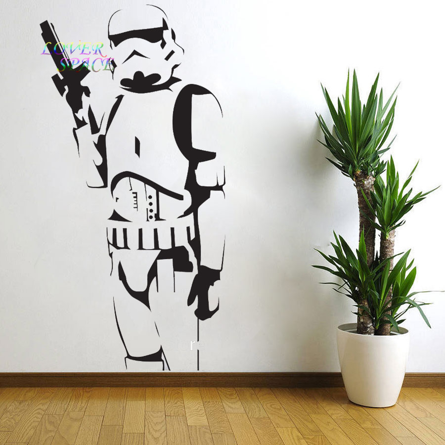 STAR WARS POSTER LARGE STORM TROOPER VINYL WALL STICKER WALL ART SILHOUETTE WALL  DECAL BIG MURAL DECORATIVE WALL STICKERS In Wall Stickers From Home ...
