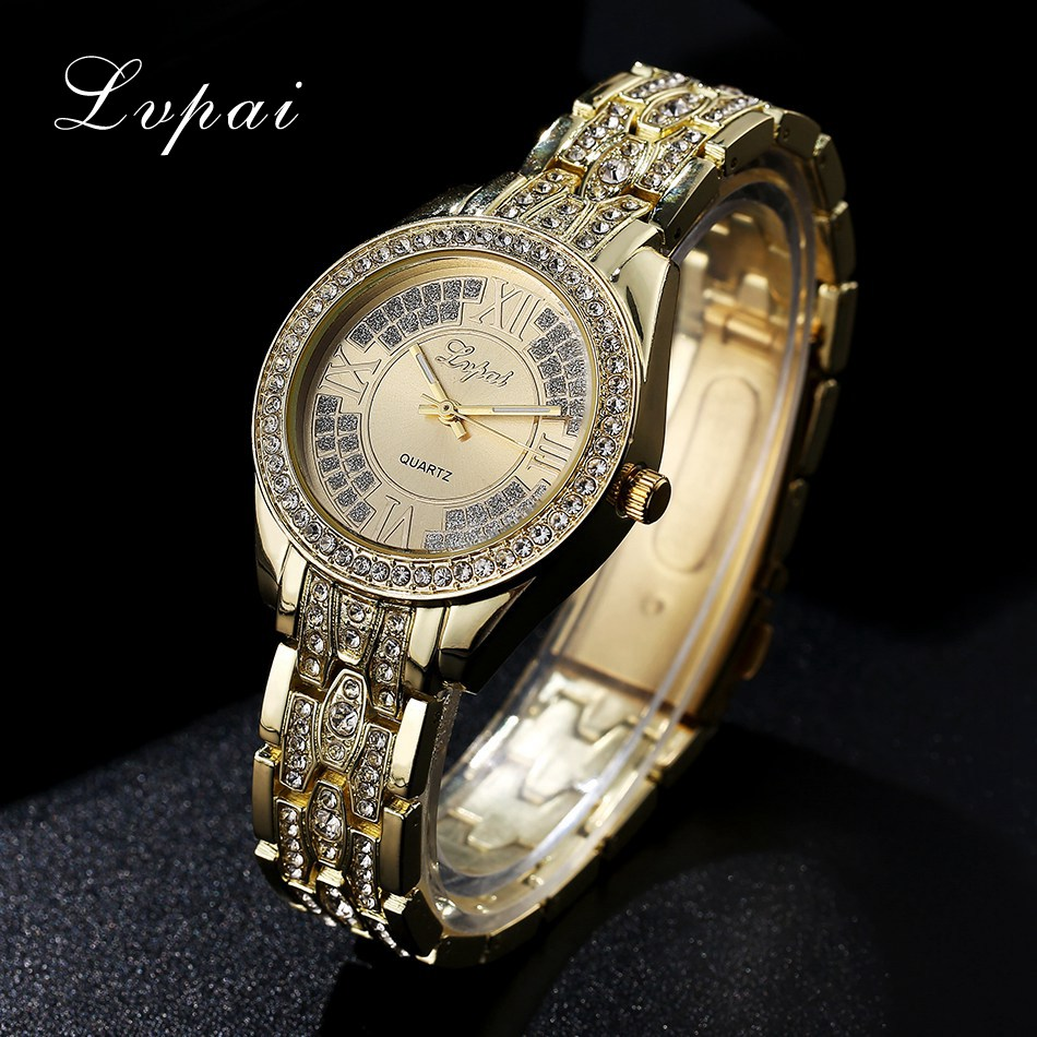 2017 New Arrive Lvpai Fashion Watch Women Bracelet Dress Steel Gold Luxury Wristwatch Women Electronic Quartz