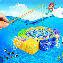 Electronic Magnetic Fishing Toy With Music Juguetes Electric Plastic Fish Toys Muscial Magnetic Fishing Game Fish
