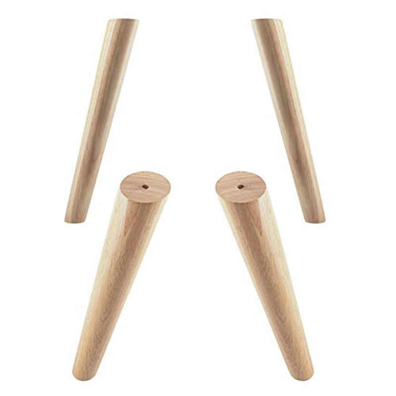 Дубовая древесина 300x48x30 мм Высота надежная наклонная мебельная ножка с железной пластиной диван стол Шкаф ножки набор из 4