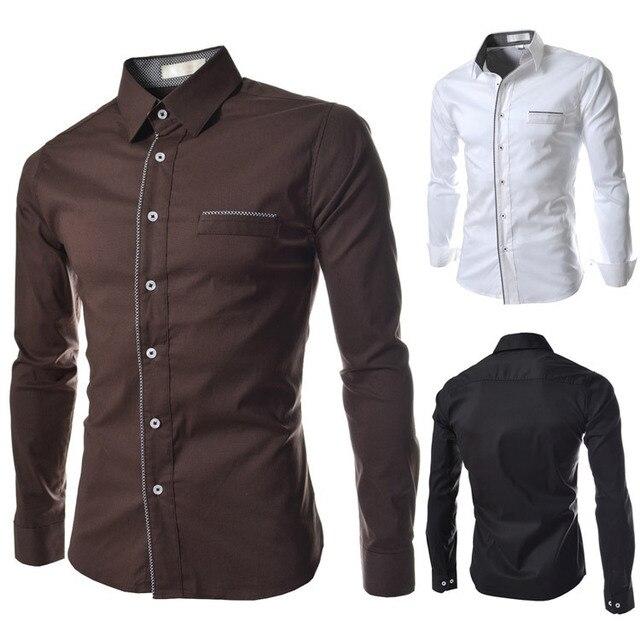 2014 nieuwe lente luxe omzoomd casual heren overhemden fashion slim fit lange mouw sociale camisas masculinas voor man M-XXL