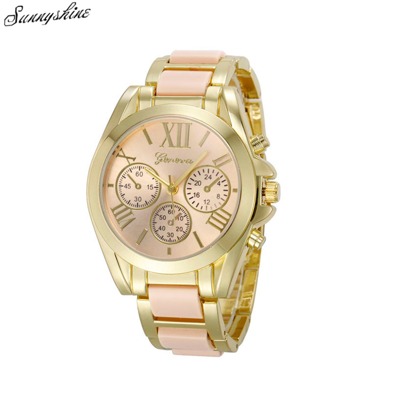 Fashion Women Geneva Watches Roman Numeral Gold Plated Metal Nylon Link Lady wristwatch wholesale F3