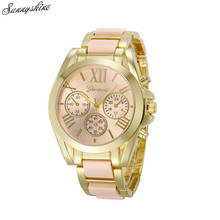 Fashion Women Geneva Watches Roman Numeral Gold Plated Metal/Nylon Link Lady wristwatch wholesale