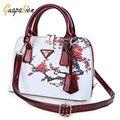Guapabien mujeres bolsos de alta calidad de las mujeres bolsas de asas famosa marca de cuero de la pu bolsas de hombro bolso de la impresión floral para la señora bolsas