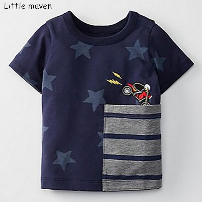 Little maven children 2018 summer baby boys clothes short sleeve star print t shirt striped pocket cotton brand tee tops 51008 striped print ringer t shirt