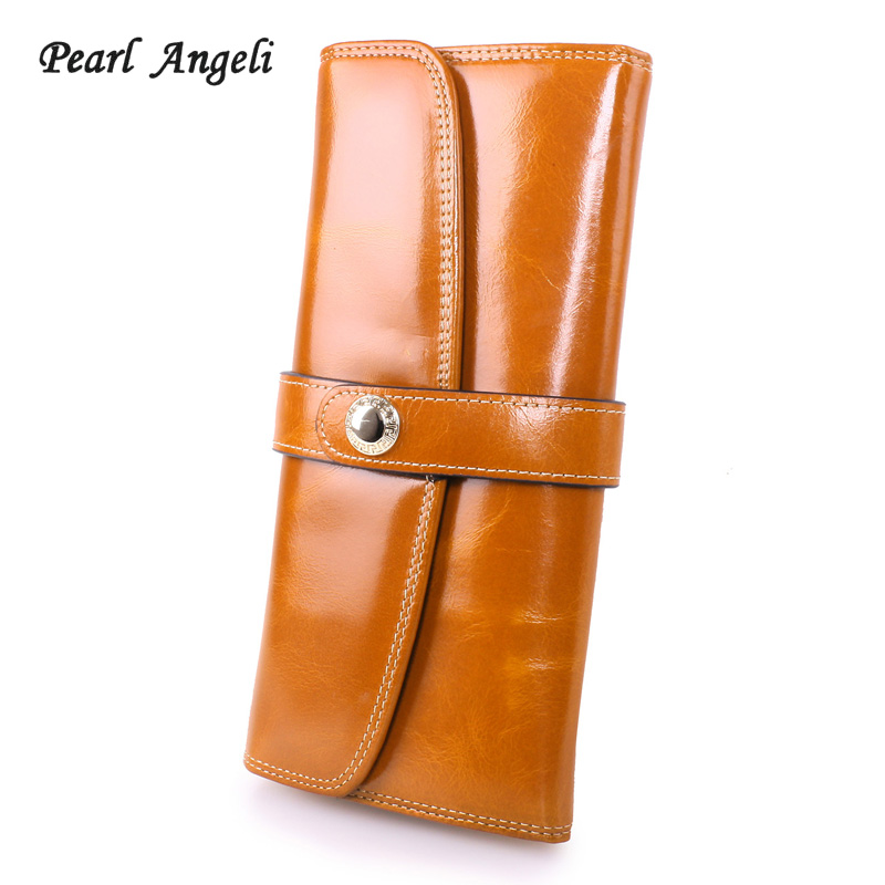 Pearl Angeli Genuine Leather Long Women Wallets Female Card Holder Coin Purse Cellphone Pocket Clutch Wallet Portefeuille Femme brand 3 fold genuine leather women wallets coin pocket female clutch travel wallet portefeuille femme cuir red purse card holder