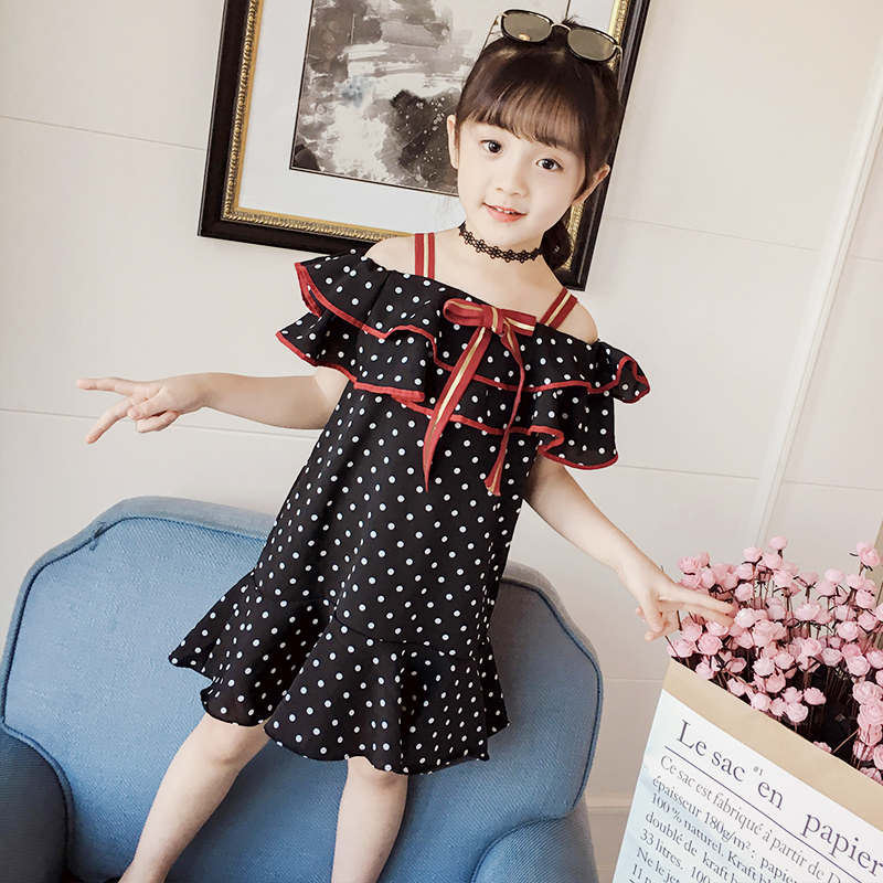Dot beach dress with open shoulder for birthday party summer children's costumes for a girl teens kids clothes ruffle trim open shoulder dot blouse