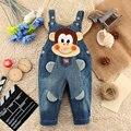 Новые 2016 младенцев мальчики девочки ужин пояс жан детей осенние брюки мультфильм животных шаблон джинсы с подтяжками Мода детская одежда