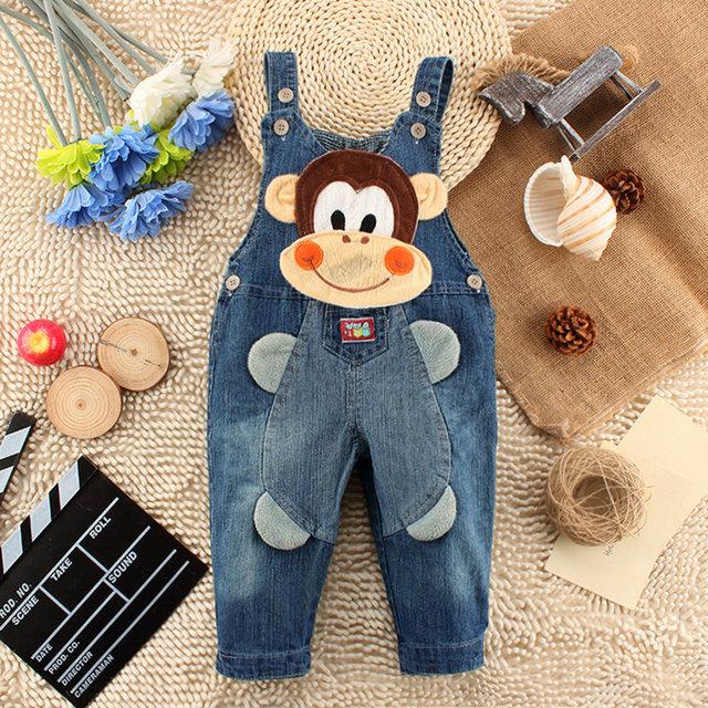 2016 novo bebê meninos meninas ceia cinto jean crianças outono calças padrão animal dos desenhos animados calças de brim com suspensórios Moda infantil desgaste