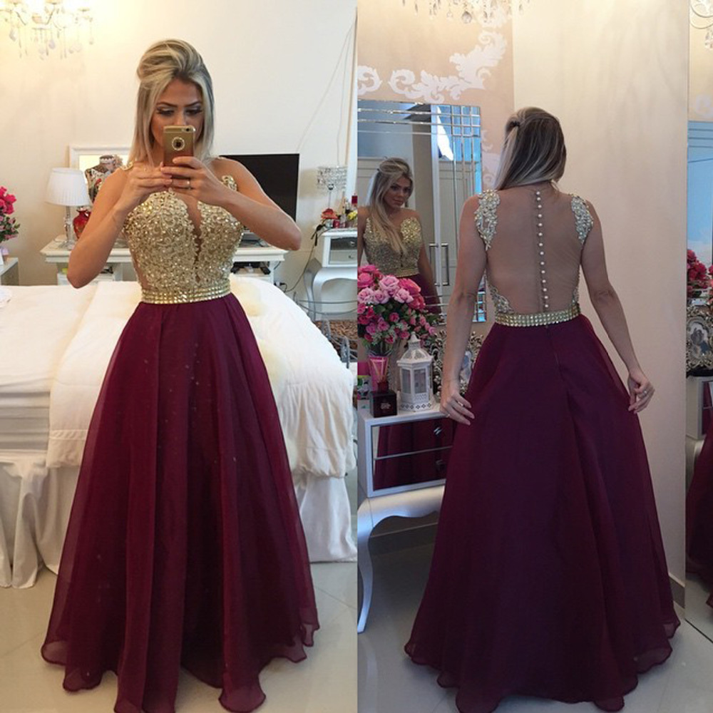 Gorgeous Long   Prom     Dress   Sexy Backless Illusion Back Crystal Beading Lace Applique Vestido De Festa Nice Evening   Dresses   2018