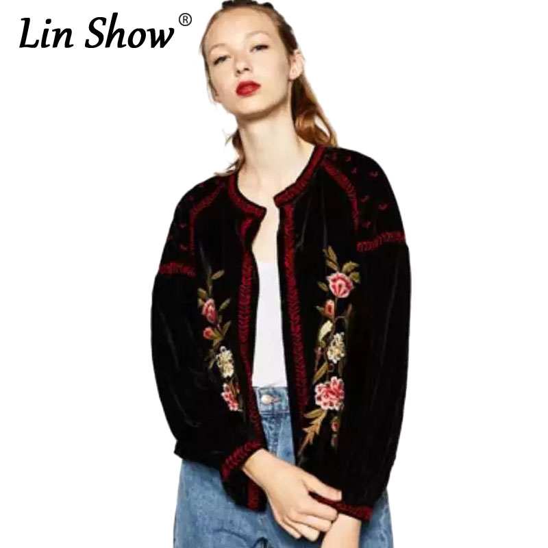 LINSHOW High Quality Velvet Embroidered Jackets For Women Floral Pattern Coats 2016 Autumn Casual Loose Ladies Bomber Jackets
