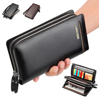 New Brand Business Men Wallets Long PU Leather Cell Phone Clutch Wallet Purse Hand Bag Top
