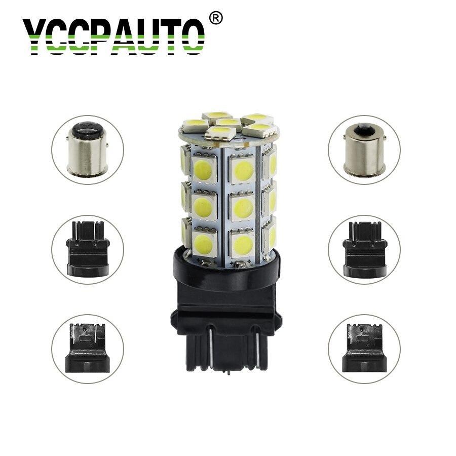 YCCPAUTO 1156 BA15S 1157 BAY15D 7443 7440 3156 3157 White 5050 LED Light Car Auto Brake Parking Stop Tail Signal Lamp Bulb 1PCS
