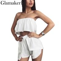 Glamaker Off Shoulder Two Piece Jumpsuit Romper Women Chiffon Crop Top Shorts Set Cool Elegant Summer
