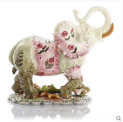 flowers ceramic elephant home decor crafts room decoration ceramic kawaii ornament porcelain garden animal figurines decoration in Figurines Miniatures from Home Garden