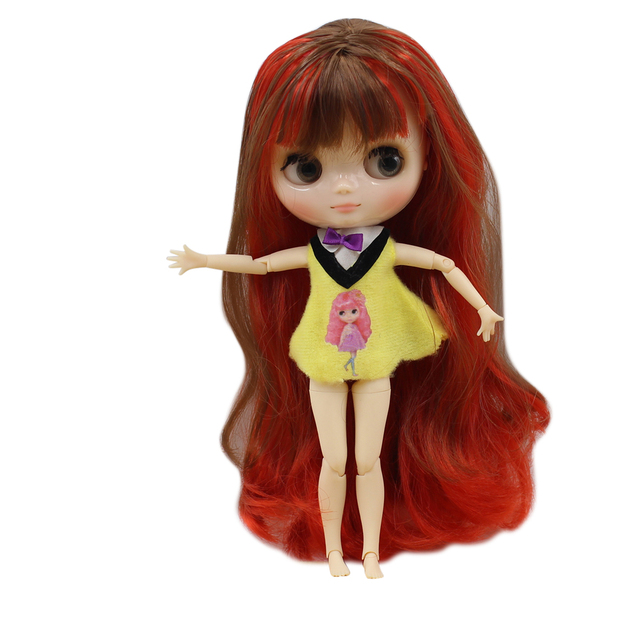 Nude Middie Blyth doll No.1248/9158 Brown mix redhair suitable for change toy Neo BJD
