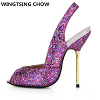 New Glitter Summer Ladies Shoes High Heel Slingbacks Sexy Peep Toe Wedding Shoes Woman Pumps Open Toe High Heels Big Size