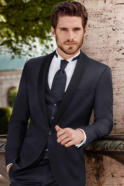 42c0eea68d3a6 Tailored Dark Navy Blue Groom Tuxedos Black Shawl Lapel Mens Wedding Prom Dinner  Suits Slim Fit Italian Styles Suit Jacket+Pants
