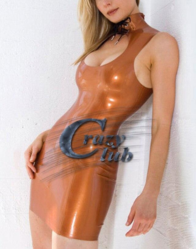 Crazy club_Latex Zentai robe Sexy Latex femmes robe marron Slim serré caoutchouc Vestidos tenue de club robes de fête vente taille personnalisée