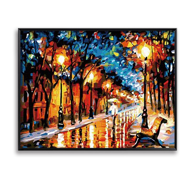 Diy Oil Painting By Numbers Wall Art Wall Painting Park Night View