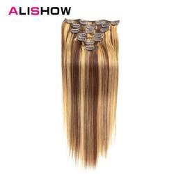 Alishow клип в пряди человеческих волос для наращивания Прямой полный набор головок 7 шт. 100 г искусственные волосы одинаковой направленности