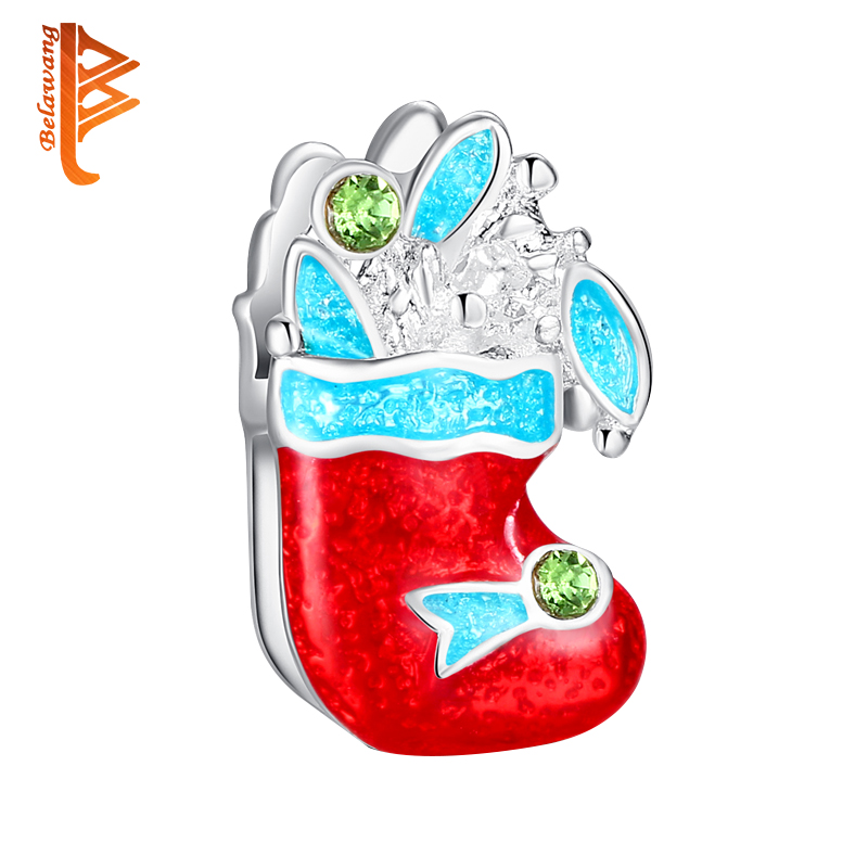 BELAWANG Fashion Silver Color Red Sock Charms Beads Fit Charms Bracelet for Women Zirconia Charms Jewelry Christmas Day Gift