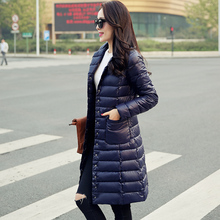 Женская пуховик зима новый 2016 тонкий женский средней длины пуховик пальто ультра легкий верхняя одежда пуховик женщин куртка плюс размер 693