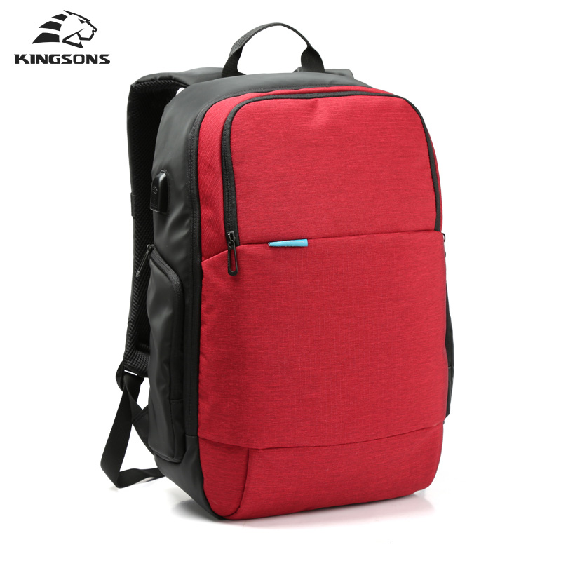 Kingsons Anti-theft Backpack External USB Charge Laptop Waterproof Rucksack Notebook Computer Bag 15.6 Inch for Women Men brand external usb charge computer bag anti theft notebook backpack 15 17 inch black waterproof laptop backpack for men women