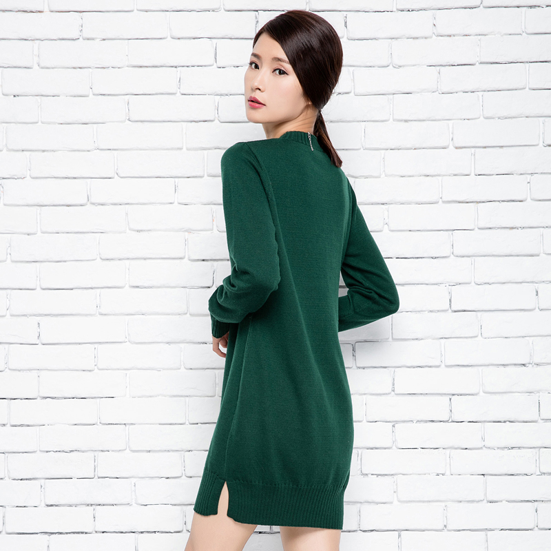 New Arrived Ladies set head half cashmere pullovers O neck long sleeve side open Split skirt sweater for women dress Fashion in Pullovers from Women 39 s Clothing