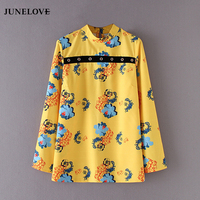 JuneLove 2017 Winter Women Yellow Blouse Rivets Decorative Floral Blouse Casual Fashion Print Loose Blouse For