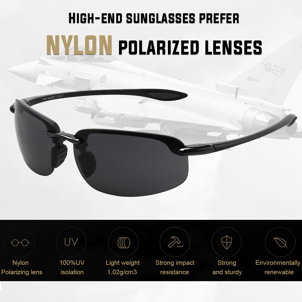 JULI Nylon Lens Sports Sunglasses Men Women Male Driving Running Rimless Ultralight Frame Sun Glasses UV400 Gafas De Sol MJ8001