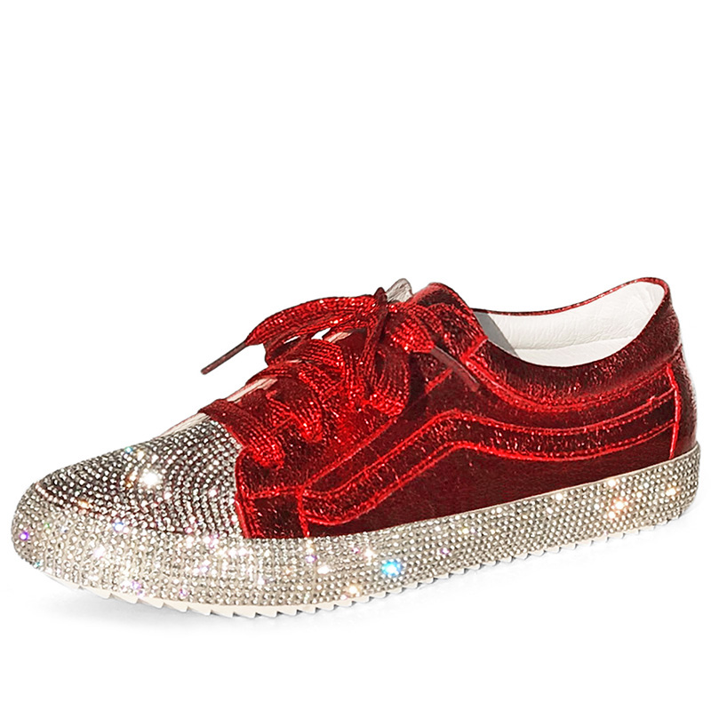 Designer white shoes women's new rhinestone net red women's shoes artifact thick bottom student base increased wild shoes 35-41 2