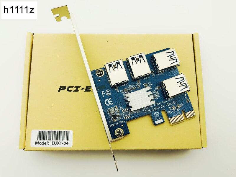 Caliente PCIe pci-e tarjeta PCI Express Riser 1x a 16x1 a 4 3.0 ranura USB multiplier Hub adaptador para la minería bitcoin minero BTC dispositivos