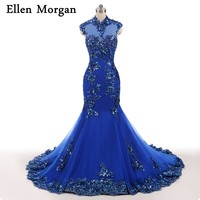 Royal Blue High Neck Evening Dresses For Women Wear Vestido De Festa Celebrity Mermaid Lace Elegant
