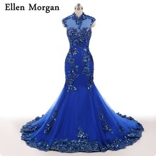 Ellen Morgan Blue High Neck Evening Dresses Mermaid