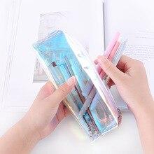 Creative Kawaii Transparent Laser Pencil Case Cute Colored Pencil font b Bag b font For font