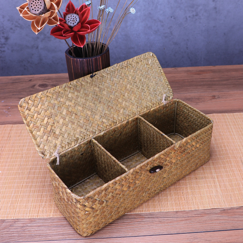 Straw Weaving Storage Boxes Makeup Organizer Jewelry Box Storage Of Things Desk Clothes Tea Party Kitchen Office With Lid