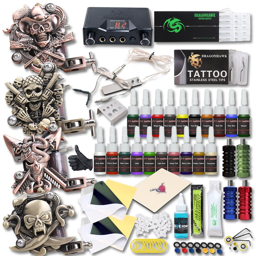 High Quality 4 Relief Tattoo Machine Guns Tattoo Kits 20 Colors Inks Set Top Power Supply