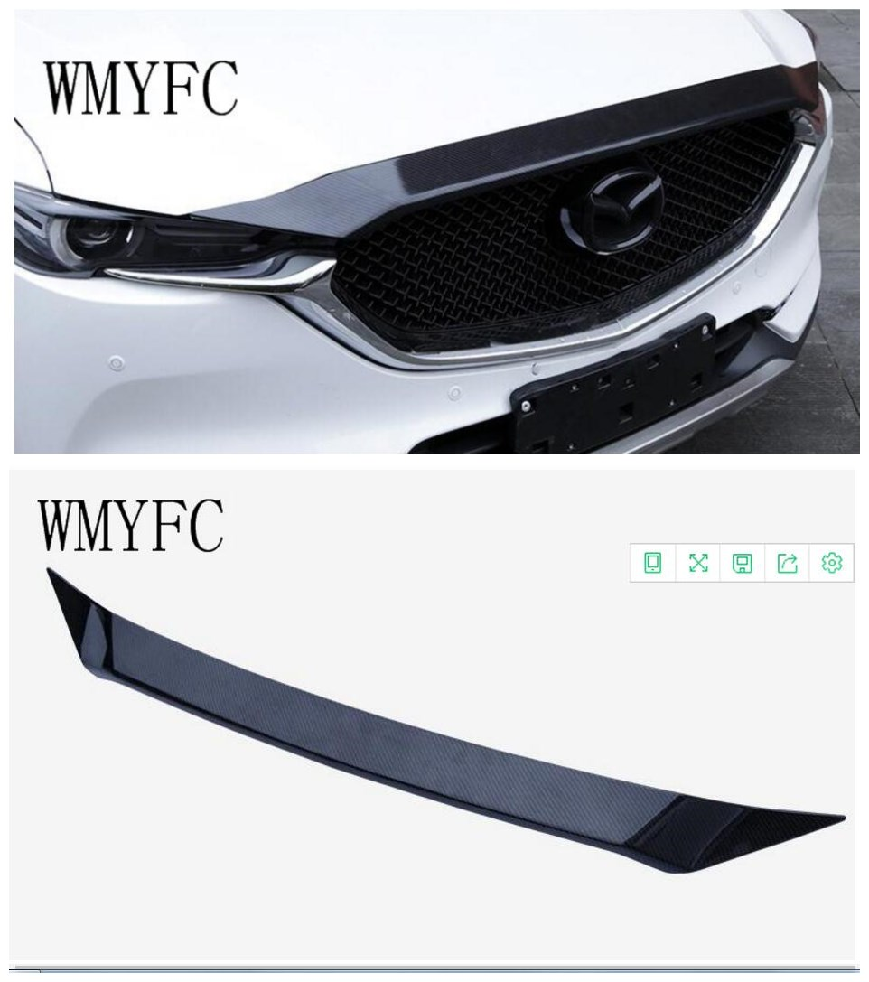 цена на 1pcs Carbon Fiber Front Grille Hood Engine Cover Trim for Mazda CX 5 CX-5 CX 5 2017 2018 Car Accessories Styling