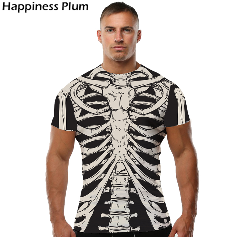 KYKU Skeleton Tshirt Men Skull T Shirt Bone Punk Rock Clothes 3d Print T-shirt Hip Hop Tee Cool Mens Clothing 2018 Summer Tops