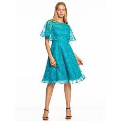 Платье для вечеринок Dressv, недорогое синее коктейльное платье длиной до колена с короткими рукавами и вышивкой на молнии