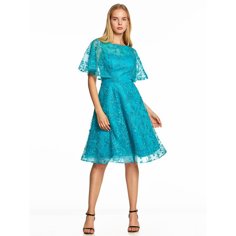 Dressv Homecoming Dress Cheap Blue A Line Knee Length Cocktail Party Dress Embroidery Short Sleeves Zipper Up Homecoming Dress
