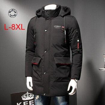 Woxingwosu men's hooded parkas long cotton jacket winter overalls cotton coat fattening big size  L to 4XL 5XL 6XL 7XL 8XL woxingwosu girl s hooded down coat large code light down jacket female short super light and thin s to 4xl 5xl xl 7xl 8xl