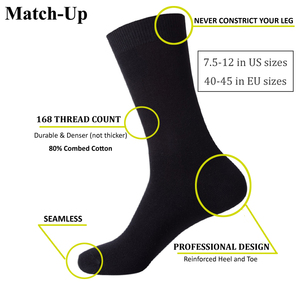 Image 2 - Match Up  Men Bamboo Black Socks Breathable Business Dress Socks (6 Pairs/Lot)