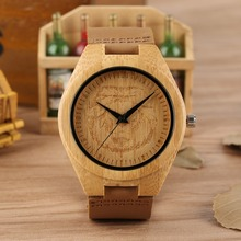 Wooden Watch Quartz Movement Leather Band Lightweight Wristwatch Animal Pattern Dial Wood Simple Clock Male reloj hombre