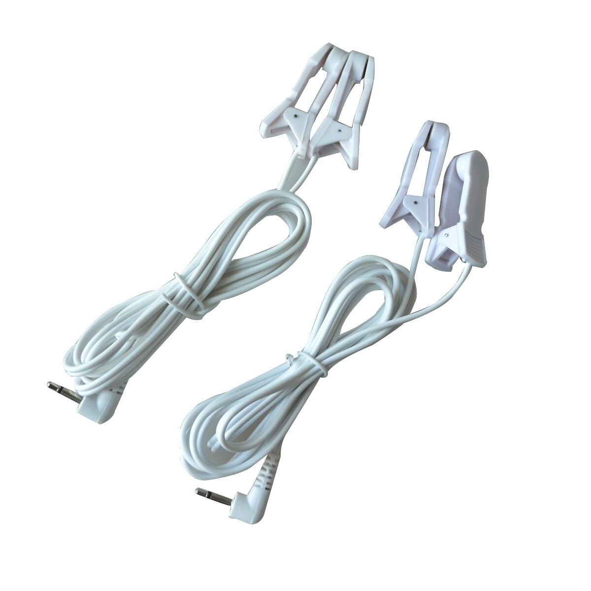 50 Pz/lotto Elettrodo Cavo Cavi Con 2 Clip Orecchio Connnecting DECINE/EMS Massager di Terapia Macchina Digitale Con 2.5/3.5mm Spina