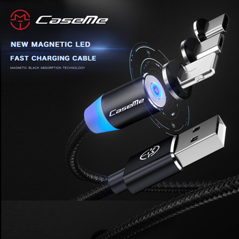 CaseMe LED Magnetic USB Cable For Samsung Xiaomi For iPhone X Braided Magnet Plug USB Type C Micro USB Phone Cable Fast Charging