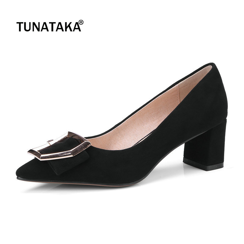 Suede Comfort Square Heel Pointed Toe Woman Lazy Pumps Fashion Buckle Dress High Heel Shoes Woman Black Wine Red Purple amourplato women s fashion pointed toe high heel sandals crisscross strap pumps pointy dress shoes black purple size5 13